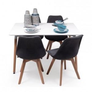 Conjunto de comedor TOWER DAY ROMBOS con mesa lacada blanca de 120x80 cm y 4 sillas NEW DAY TELA
