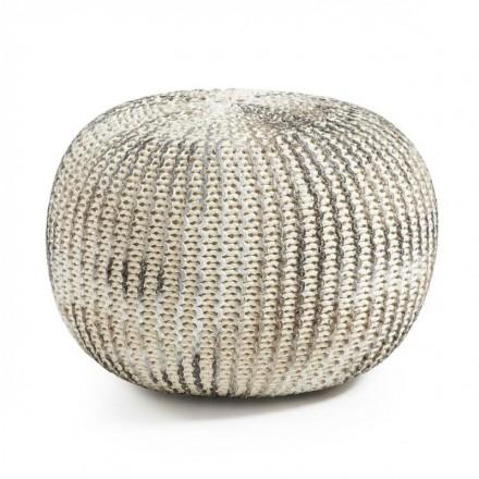 Puf oval de algodón tricotado blanco y plata SHORE 45x35