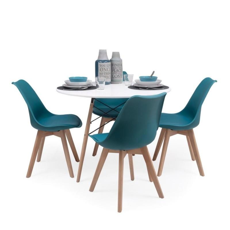 Conjunto de comedor TOWER 100 DAY mesa redonda de 100 cm y 4 sillas DAY