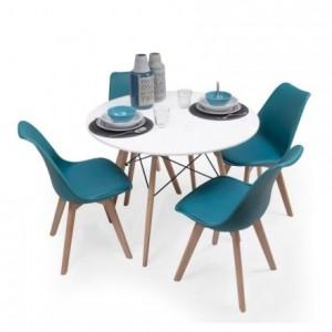Conjunto de comedor TOWER 100 DAY mesa redonda de 100 cm. lacada y 4 sillas DAY