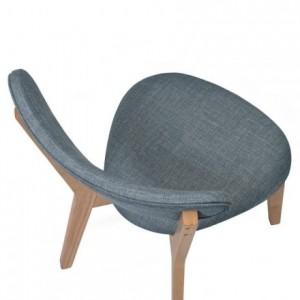 Silla de comedor MELAKA tapizada en tela y patas de madera de roble