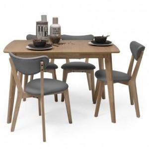 Conjunto de comedor de diseño nórdico MELAKA mesa extensible y 4 sillas tapizadas