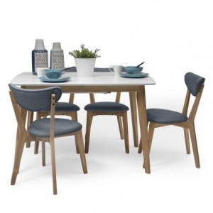 Conjunto de comedor de diseño nórdico MELAKA mesa extensible blanca y 4 sillas tapizadas