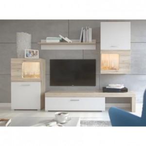 Mueble de salón modular SAONA color roble y blanco de 215 cm