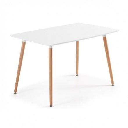 Mesa de cocina de diseño nórdico DAW sobre lacado blanco y pies de madera 140x80 cm
