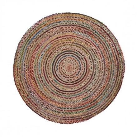 Alfombra redonda SAMY yute natural y algodón multicolor de 100 cm