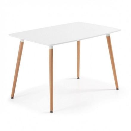 Mesa de cocina de diseño nórdico DAW sobre lacado blanco y pies de madera 120x75 cm