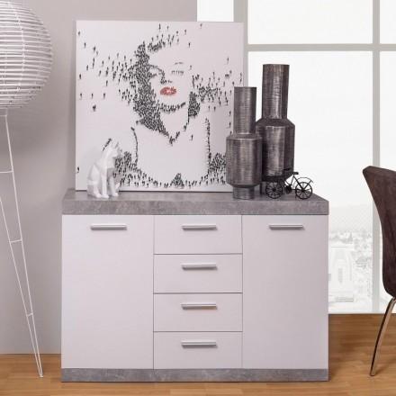 Mueble aparador de comedor ESCANAR color hormigón y blanco
