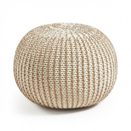 Puf oval de algodón tricotado blanco y cobre SHORE 45x35