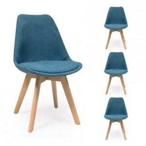 Pack de 4 sillas de comedor NEW DAY tela con asiento pespunteado rombo