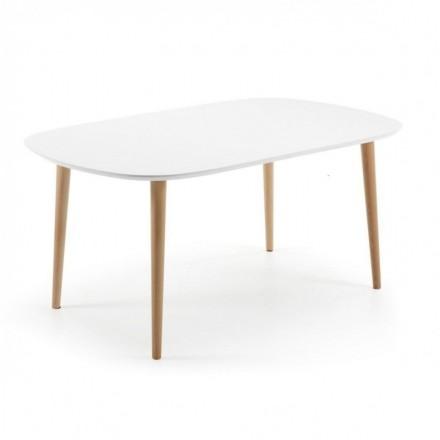 Mesa de comedor extensible de diseño nórdico OAKLAND sobre dm lacado blanco y pies de madera 160/260x100 cm