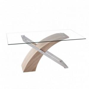 Mesa de centro ROMA tapa de cristal y estructura metálica acabado cromo y madera