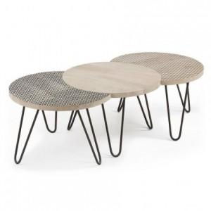 Set de tres mesas de centro modulares HOSS sobre de madera y pies de metal
