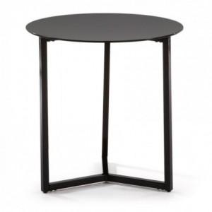 Mesa auxiliar MARAE cristal templado negro y base de acero negro