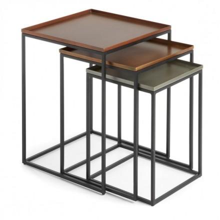 Set de 3 mesas nido VERTIG F metal acabado cobre, zinc y latón