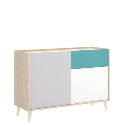 Aparador de diseño nórdico NORA color blanco/esmeralda/natural/gris 105x43 cm