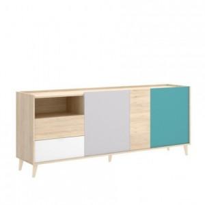 Aparador de diseño nórdico NORA color blanco/esmeralda/natural/gris 180x43 cm