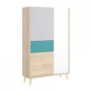 Aparador alto de diseño nórdico NORA tablero de partículas melaminizado en color blanco/esmeralda/natural/gris 81x43x135 cm