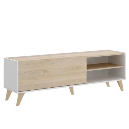 Mueble de TV de diseño nórdico NELL Tablero de partículas melaminizado color blanco/natural o grafito/natural 155x43 cm