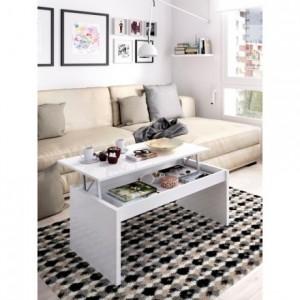 Mesa de centro elevable SIDE tablero de partículas melaminizado color blanco brillo o natural 99x60x41/53 cm