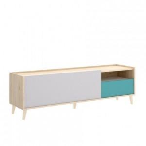 Mueble de TV diseño nórdico NORA tablero de partículas melaminizado en color blanco/esmeralda/natural/gris 155x43 cm