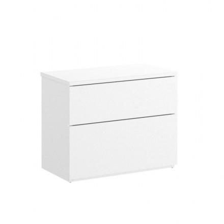 Mesilla de dos cajones ALICIA tablero de partículas melaminizado color blanco o natural 52x34x42 cm