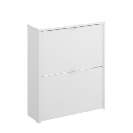 Zapatero de diseño moderno JADE tablero de partículas melaminizado color blanco brillo 61x25x76 cm