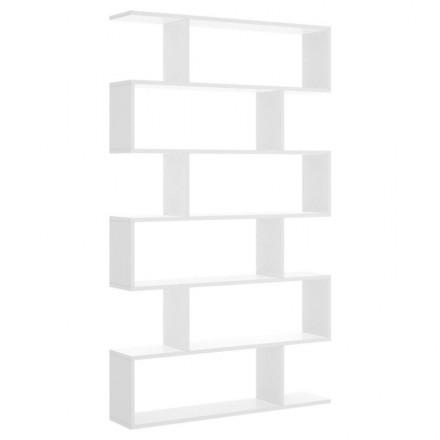 Estantería alta de diseño moderno LISA tablero de partículas melaminizado color blanco brillo, natural o cemento 80x25x190 cm