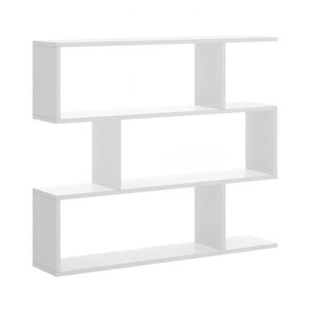 Estantería baja de diseño moderno LISA tablero de partículas melaminizado color blanco brillo o natural 110x25x96 cm