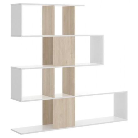 Estantería de diseño moderno FUNNY tablero de partículas melaminizado color blanco y natural 145x29x145 cm