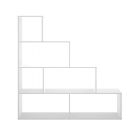 Estantería de diseño moderno TEAM tablero de partículas melaminizado color blanco y natural 145x29x145 cm