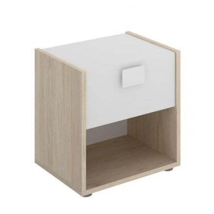 Mesilla de diseño moderno DIVA tablero de partículas melaminizado color blanco natural 40x33x42 cm