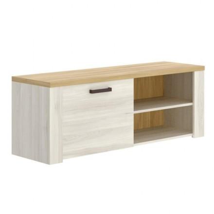 Mueble de TV SIENA tablero de partículas melaminizado color blanco finés y milano 130x40x49 cm