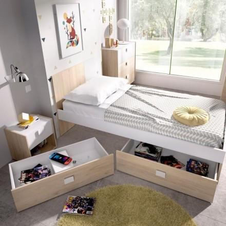 Cajones complementarios para la cama juvenil DINA tablero de partículas melaminizado color blanco natural 95x47x25 cm