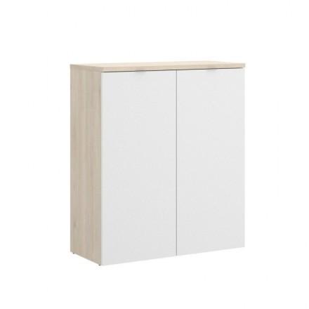 Archivador bajo de dos puertas ROX tablero de partículas melaminizado color blanco brillo/natural 79x40x96 cm