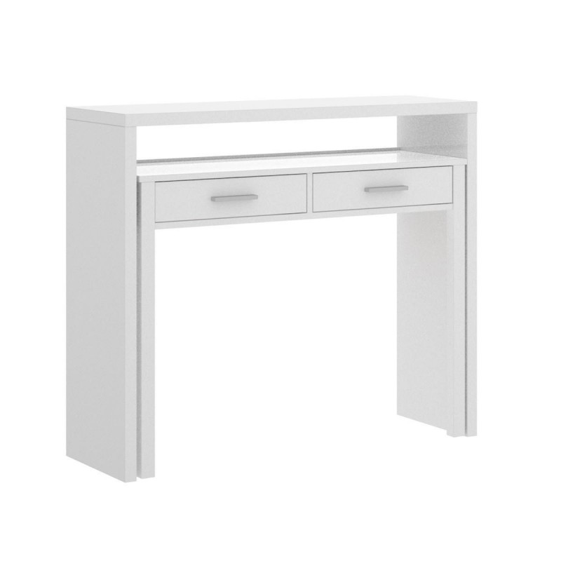 Consola escritorio SEVEN tablero de partículas melaminizado color blanco brillo 99x39x88cm