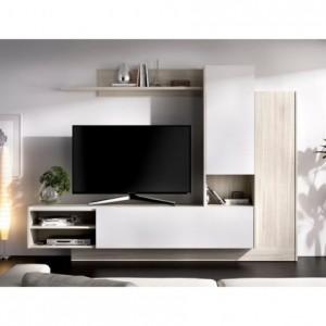 Mueble de salón modular ELM color blanco brillo de 218 cm