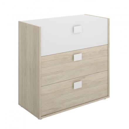 Cómoda de diseño moderno DINA tablero de partículas melaminizado color blanco natural 81x40x79 cm