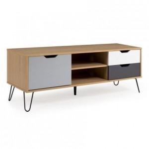 Mueble de tv de diseño nórdico CARLOS mdf en roble, blanco y gris y metal 130x40 cm