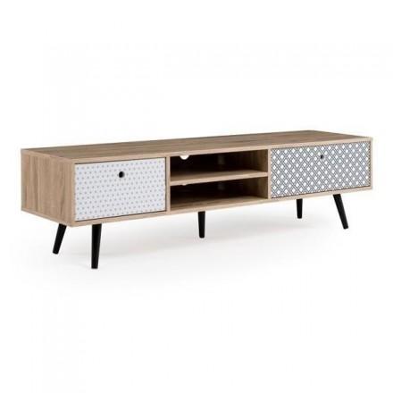 Mueble de tv de diseño vintage TATIANA mdf y madera en roble, blanco y negro 150x30 cm