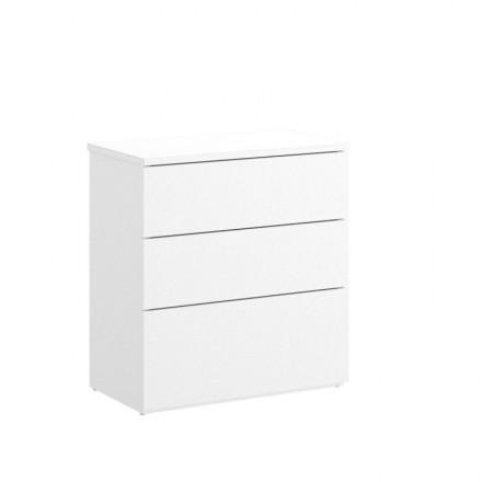 Mesilla de tres cajones ALICE tablero de partículas melaminizado color blanco o natural 52x34x58 cm