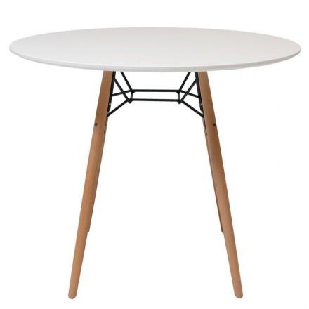Mesa de cocina o comedor redonda CLIDE sobre lacado en blanco y pie central tipo Eames 90 cm