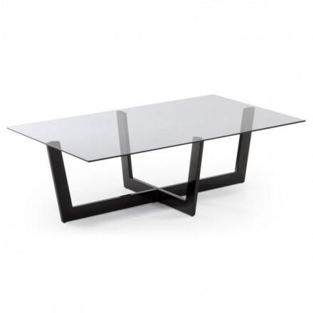 Mesa de centro ARAC cristal fume gris y estructura de acero negro