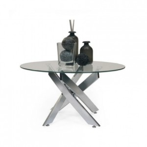 Mesa de centro de cristal cristal templado y pies de acero DALILA de 80 cm