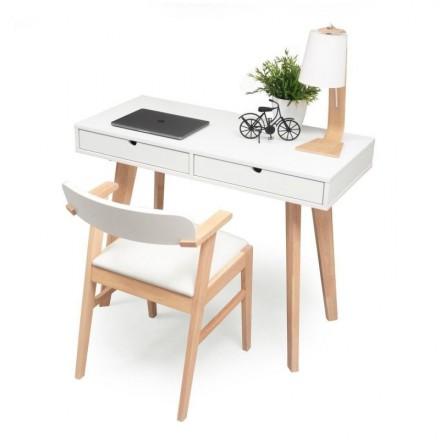 Conjunto de escritorio MELAKA mesa escritorio de 110x45 cm y sillón color madera natural y blanco
