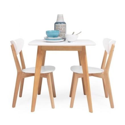 Conjunto de comedor/cocina de diseño nórdico MELAKA mesa fija de 75x75 cm y 2 sillas color roble y blanco
