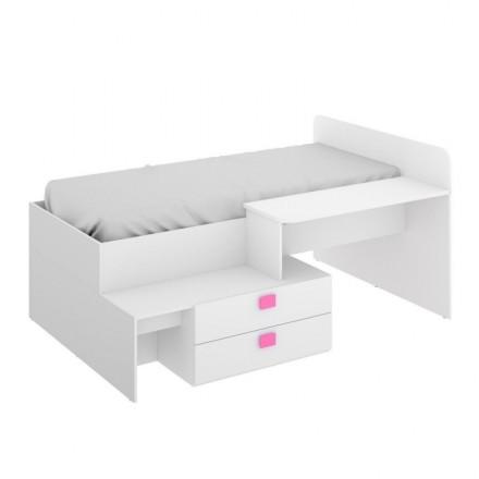 Cama juvenil de diseño moderno CHIC tablero de partículas melaminizado color blanco y tiradores fucsia/azul 195x134x95 cm