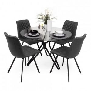 Conjunto ERICA. Mesa cristal redondo 110 cm base metal negro y cuatro sillas ERICA grisMedidas mesa: Diámetro 110 cm Alto 75 cm