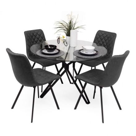 Conjunto de comedor ERICA  mesa de 110 cm y estructura de metal negro y sillas tapizadas en tela y patas metálicas en negro