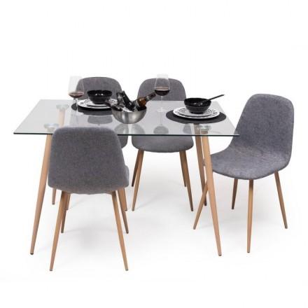 Conjunto de comedor CAIRO CHENILLA GRIS mesa de cristal de 120x79,5 cm y 4 sillas blancas
